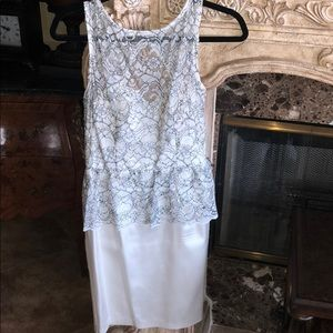 White with hint of black lace peplum short dress